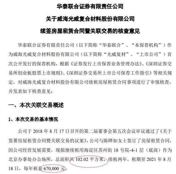 光威复材北京办事处租高价房:租金18元/平米/天 出租方为实控人女儿