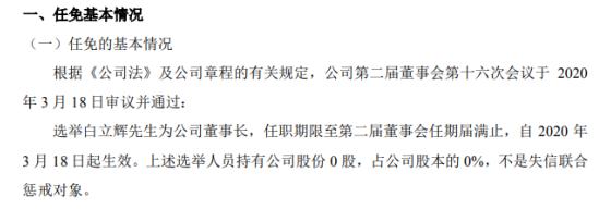 辽宁文投选举白立辉为董事长 不