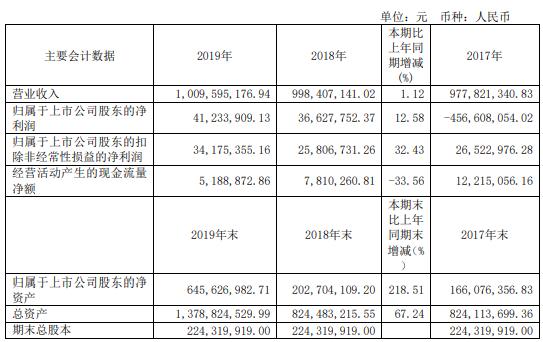 宁波中百2019年净利4123万增长13
