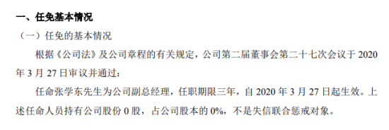 创元期货任命张学东为副总经理 任职期限三年