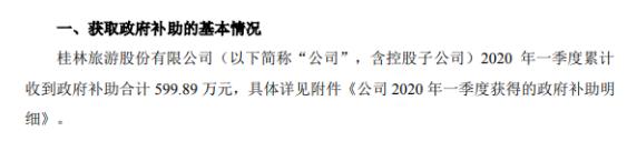 桂林旅游2020年一季度累计收到政府补助600万元