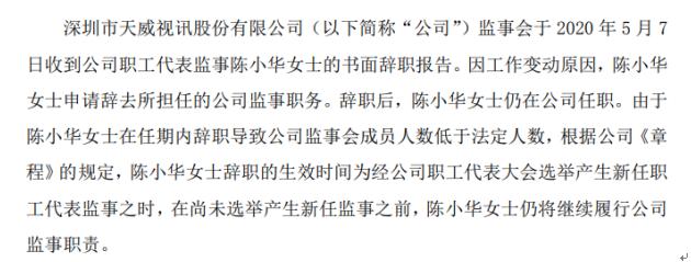 天威视讯职工代表监事陈小华辞职 仍在公司任职 2019年薪酬为86.38万元