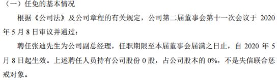 中寰股份聘任张迪为公司副总经理 不持有公司股份