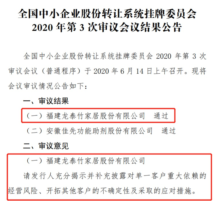 龙泰家居申报精选层获新三板挂牌委审议通过 充分揭示并补充披露对单一客户重大依赖的经营风险