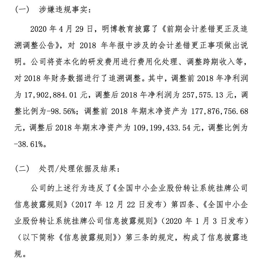 明博教育信披违规收全国股转公司警示函 净利润由1790.29万元调整至25.76万元