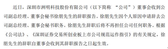 洲明科技副总经理徐朋辞职 2019年薪酬为57.53万元