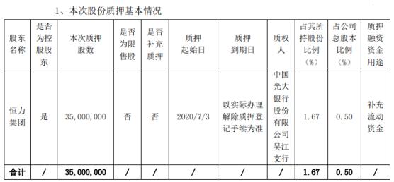 恒力石化股东质押股份3500万股,用于补充流动资金