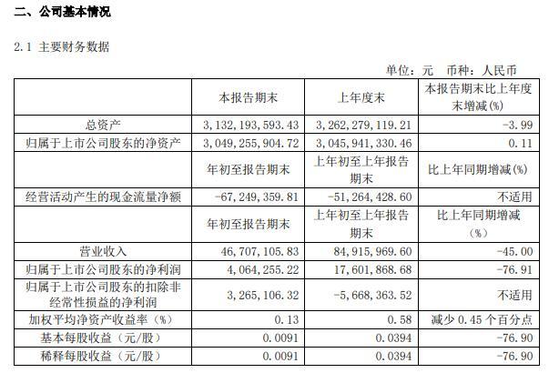 ��新文化2021年第一季度�衾��p少76.91% 上期主要包含化工�置收益