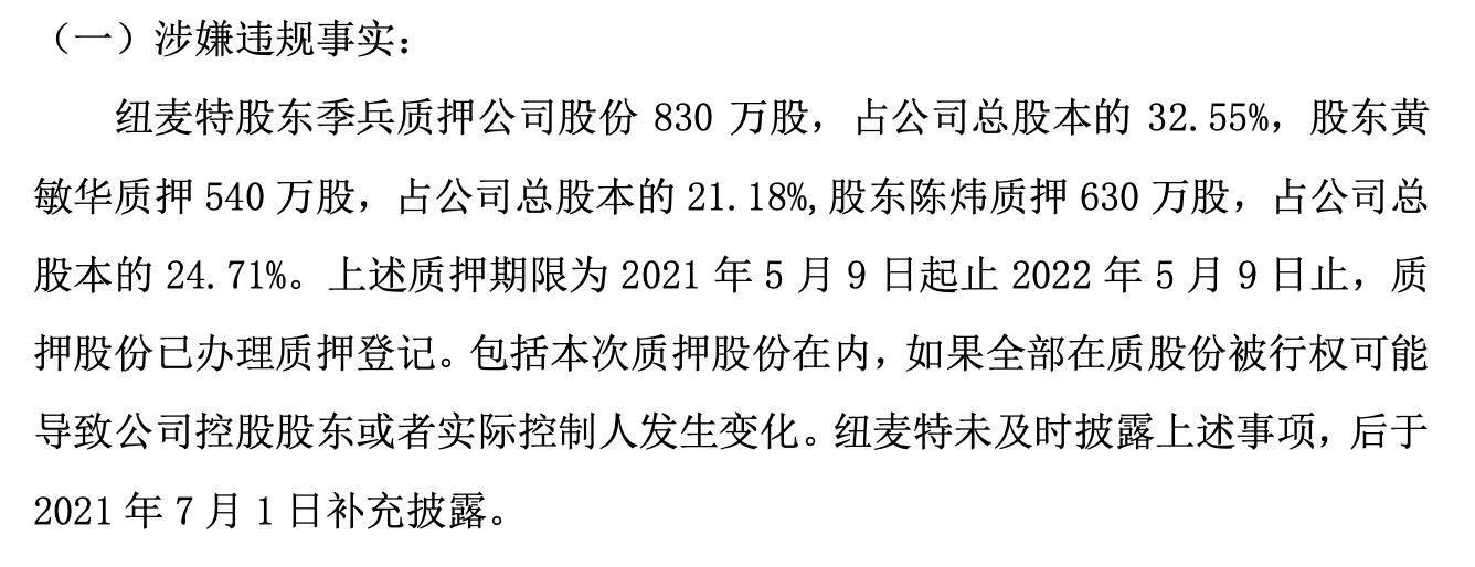 纽麦特收警示函  因未及时披露股东所持股权被质押