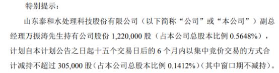 因个人资金需求 泰和科技副总经理万振涛拟减持不超30.5万股公司股份